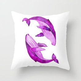 Humpback Whales   Pretty in Pink Throw Pillow