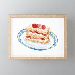Watercolor Illustration of French style dessert - Napoleon Cake Framed Mini Art Print