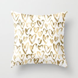 Gold Love Hearts Pattern on White Throw Pillow