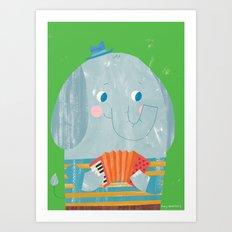 Elephant Accordion Player Art Print