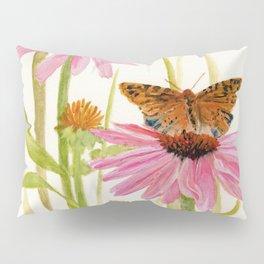 Pink Coneflower Butterfly Watercolor Pillow Sham