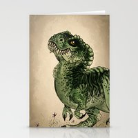 trex Stationery Cards featuring Baby T-Rex by River Dragon Art