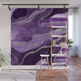 Purple Marble Agate Silver Glitter Glam #1 (Faux Glitter) #decor #art #society6 Wall Mural