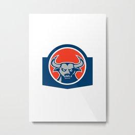 Angry Bull Head Circle Retro Metal Print