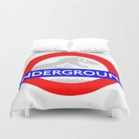 jurassic park Duvet Covers featuring LONDON UNDERGROUND : JURASSIC PARK SERVICE by DrakenStuff+