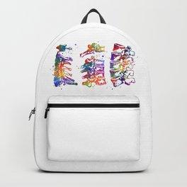 Cervical Thoracic Lumbar Vertebrae Spine Art Colorful Watercolor Gift Anatomy Art Backpack