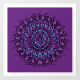 Bohemian Mandala in Plum with Turquoise Art Print