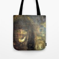 imagerybydianna Tote Bags featuring reina, of moon and paper by Imagery by dianna