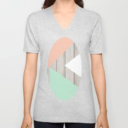 Modern Teal Peach Triangles Color Block on Wood Unisex V-Neck