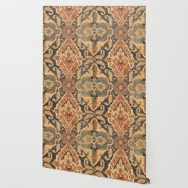 Geometric Leaves III // 18th Century Distressed Red Blue Green Colorful Ornate Accent Rug Pattern Wallpaper