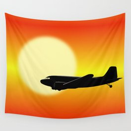 DC-3 passing sun Wall Tapestry