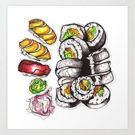 Yummy Sushi Art Print
