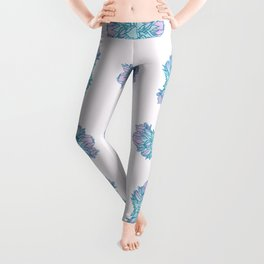 Zonal Geranium Illustration Pattern Leggings