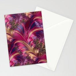 Fancy Fractal Fashion Design Pink Gold Stationery Cards
