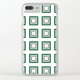 Green Blue With White Tile Clear iPhone Case
