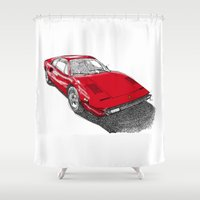 ferrari Shower Curtains featuring Red Ferrari for Christmas by Larsson Stevensem