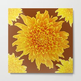 Coffee Brown Color Golden Yellow Chrysanthemums Metal Print