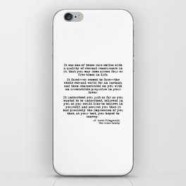 It was one of those rare smiles - F. Scott Fitzgerald iPhone Skin