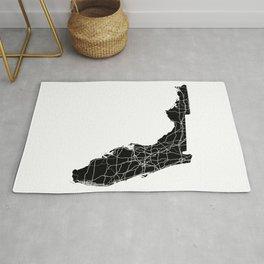 Florida Black Map Rug