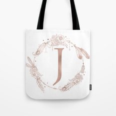 Letter J Rose Gold Pink Initial Monogram Tote Bag