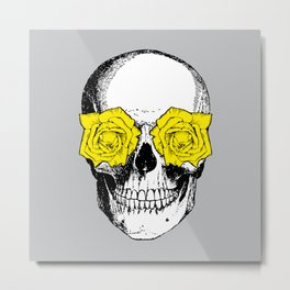 Skull and Roses | Skull and Flowers | Vintage Skull | Grey and Yellow | Metal Print