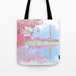 Cherry Blossom - Washington Monument Tote Bag