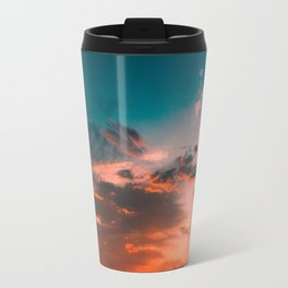 Colorful Pink Orange Turquoise Sunset Clouds Ombre Gradient Travel Mug