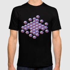 Cubes and stars MEDIUM Black Mens Fitted Tee