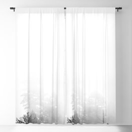 PNW Pacific Northwest Compass - Black and White Forest Blackout Curtain