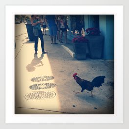 Christmas Rooster Art Print