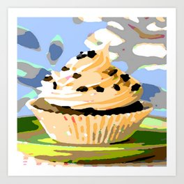 Chocolate Cupcakes with Vanilla Frosting Art Print