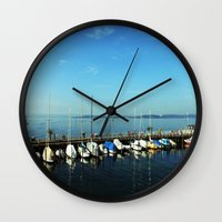 boats Wall Clocks featuring BOATS by Rebecca Jackson
