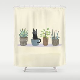 Three succulents and one kitten Shower Curtain