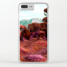 Red bright pink and orange alien landscape Clear iPhone Case