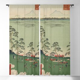 Spring Trees Mountain Ukiyo-e Japanese Art Blackout Curtain