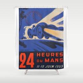 1955 Le Mans poster, vintage car poster, Le Mans poster, Shower Curtain
