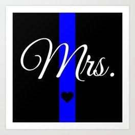Thin Blue Line Mrs. Pillow Art Print
