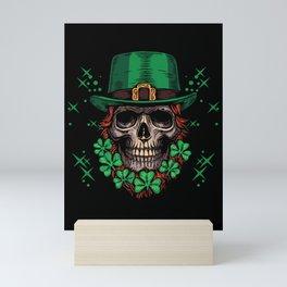 St. Patricks Day 2021 Skull Leprechaun Shamrock Clover Gift Mini Art Print