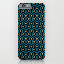 Blue & Gold horror hotel carpet pattern iPhone Case