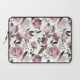 Modern hand painted ivory purple pink watercolor roses Laptop Sleeve