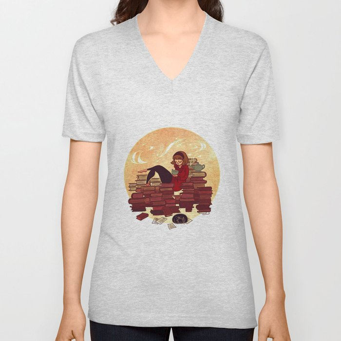 Book Lover Girl Unisex V-Neck