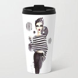 Fashion illustration. Woman Travel Mug