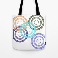 bianca green Tote Bags featuring Bianca Circle by Ellie And Ada