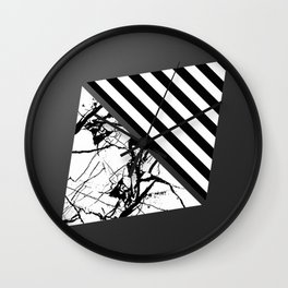 Stripes N Marble 3 - Abstract Black and white stripes and marble textured triangles on metallic Wall Clock