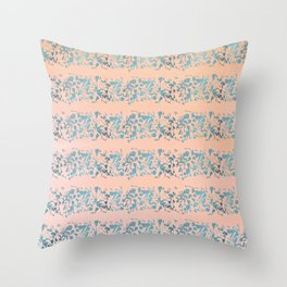 Coral teal watercolor abstract geometric stripes Throw Pillow