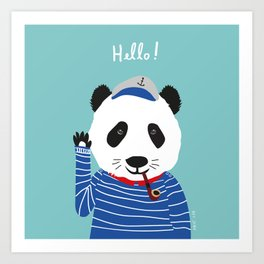 Mr. Panda Seaman Art Print