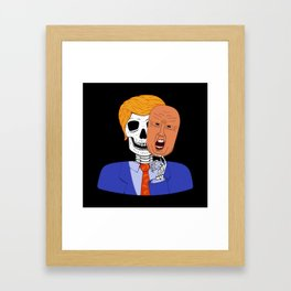 Skeleton with Scary Halloween Trump Mask Framed Art Print