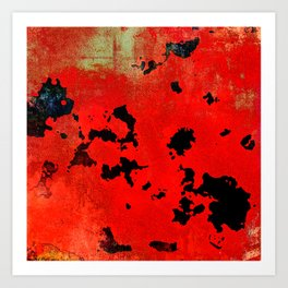 Red Modern Contemporary Abstract Textured Design Art Print
