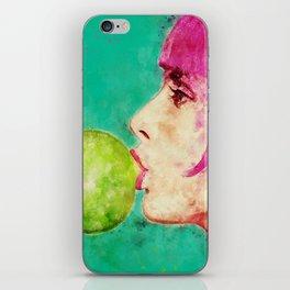 Bubble gum girl iPhone Skin