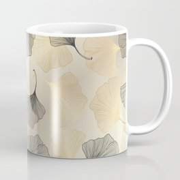 Abstract pattern with Luxury gold Ginkgo. Exotic botanical design, elegent, luxury, golden, sparkle, glitter background Coffee Mug